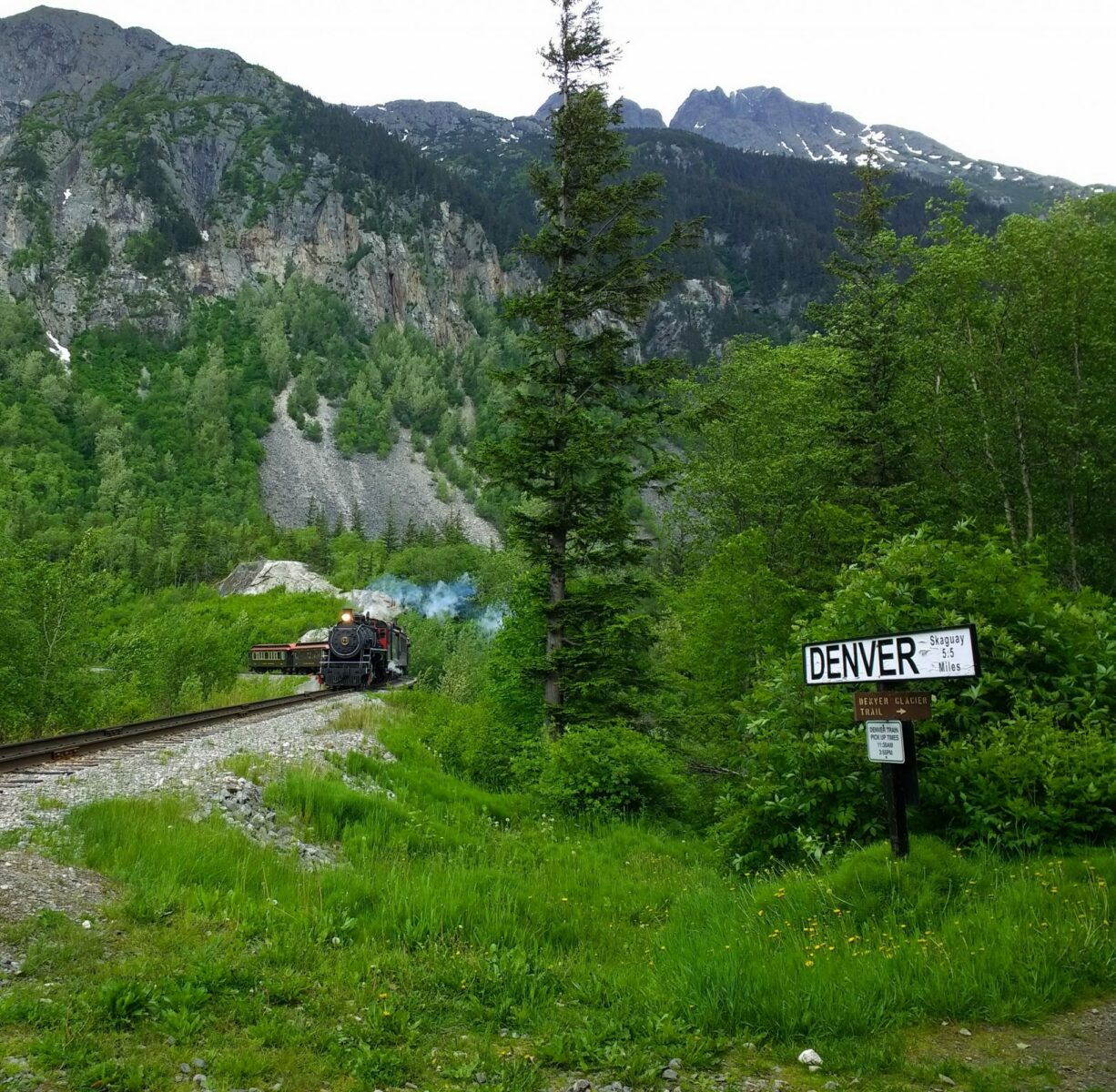A steam engine coming around a corner with a train in the remote mountains of white pass near Skagway alaska. There is a sign in the forest next to the tracks that says Denver Glacier Trail and Denver - Skagway 5.5 miles