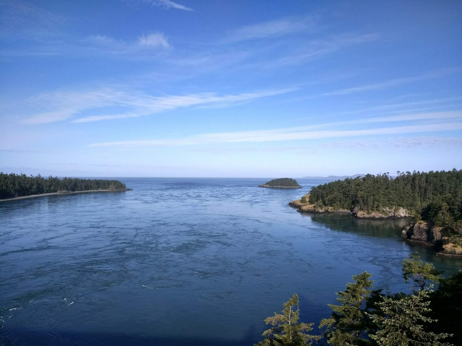 View from high above Deception Pass between Whidbey Island and Fidalgo Island. It is a sunny day and the water is blue and swirling with current between forested hills on each side of the water