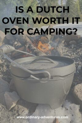 A faded photo of a dutch oven next to a campfire in a snowy forest. Text reads; is a dutch oven worth it for camping?