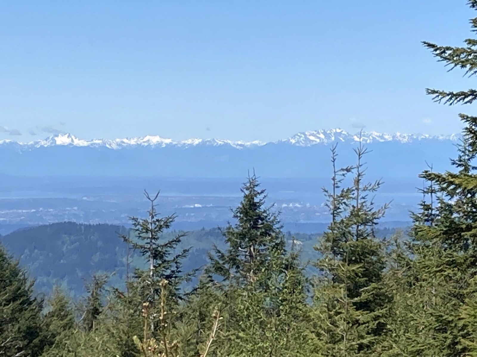 Distant snow capped mountains. In the foreground are different layers of forested hills, water and towns.