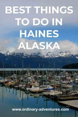small boat harbor with many boats docked inside a breakwater. Across the water are high mountains with snow and some clouds around them on a partly sunny day. Text reads: best things to do in Haines Alaska