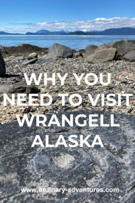 An ancient petroglyph on a dark rock in the foreground. It is a circle with circles around it. It's on a gravel beach with other larger rocks. In the distance are mountains and a few clouds. Text reads: Why you need to visit Wrangell Alaska