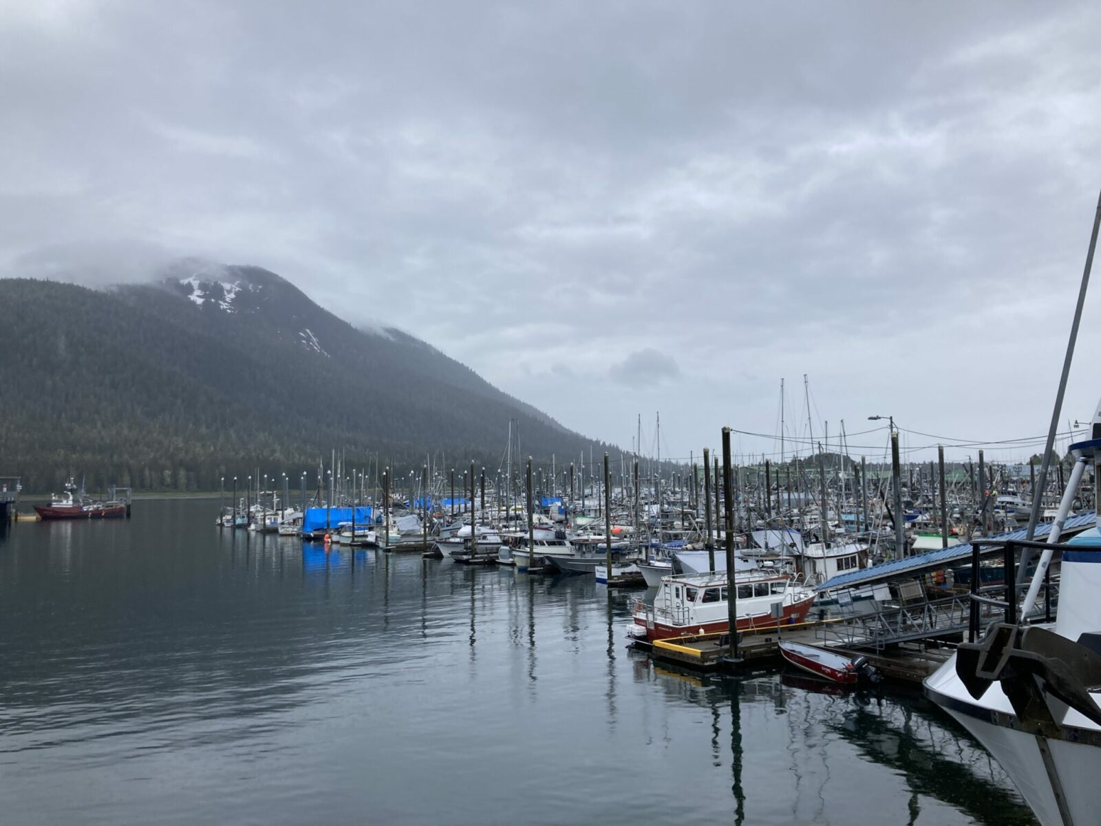 Petersburg full of fishing boats on a cloudy and rainy day