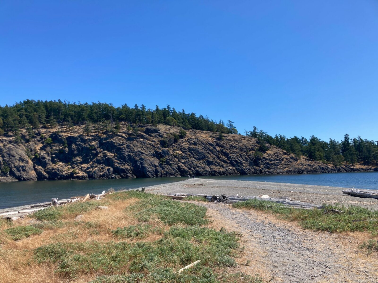 The tip of Spencer Spit on Lopez Island. There is some grass and driftwood and gravel in the foreground and a gravel beach goes out to a narrow point in the water. Very close to the end of the spit is another island with a rocky side and trees on top