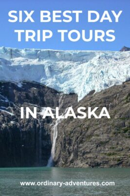 A hanging glacier over rocks next to the water with a small waterfall coming down. Text reads: Six best day trip tours in Alaska