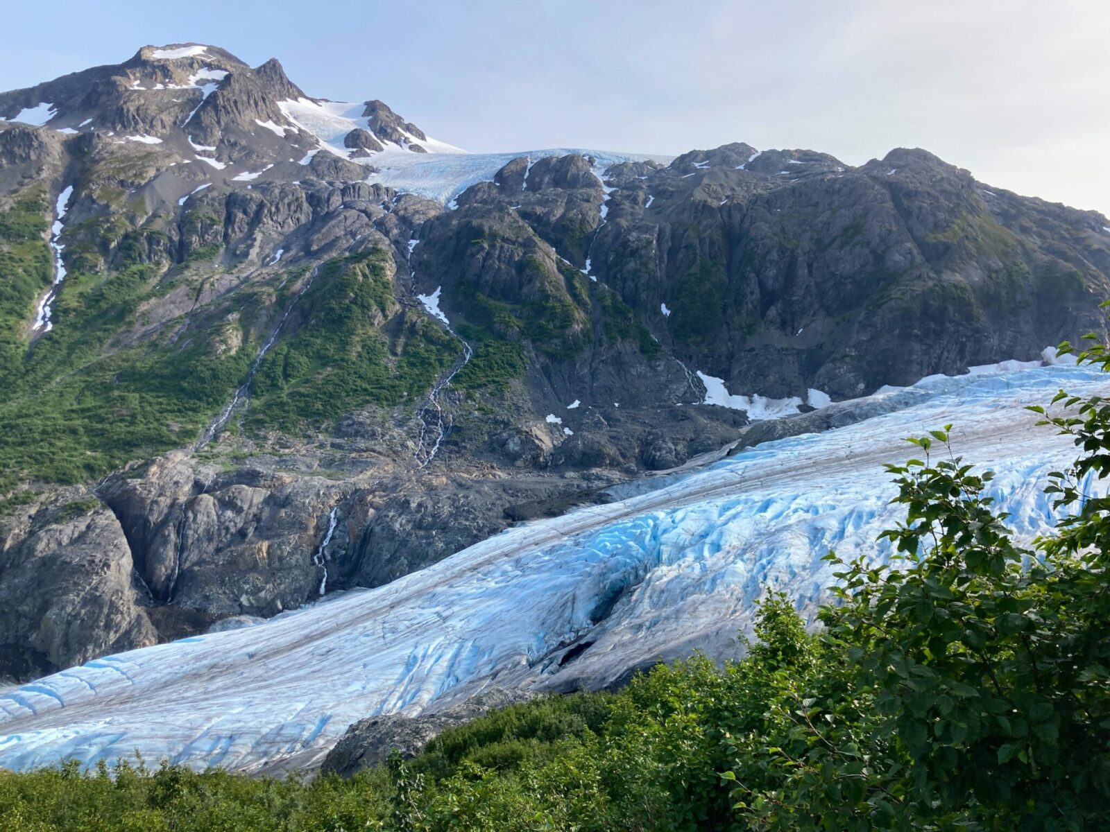 A side view of Exit Glacier from a hiking trail, one of the best things to do in Seward. The glacier has dark brown streaks over white and blue ice and is going between mountains with lingering snow. At the top of the mountain there is another glacier in view. The foreground has green brush
